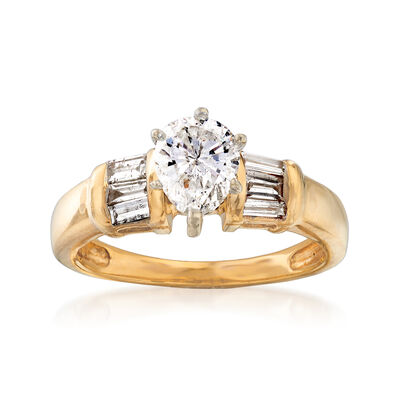 C. 1990 Vintage 1.30 ct. t.w. Diamond Ring in 14kt Yellow Gold, , default