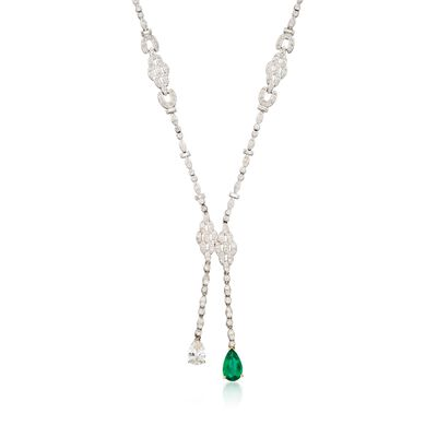 C. 2000 Vintage 9.15 ct. t.w. Diamond and 2.35 Carat Emerald Lariat Necklace in 18kt White Gold, , default