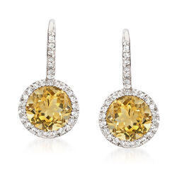 C. 1980 Vintage 2.30 ct. t.w. Citrine and .20 ct. t.w. Diamond Drop Earrings in 14kt White Gold, , default