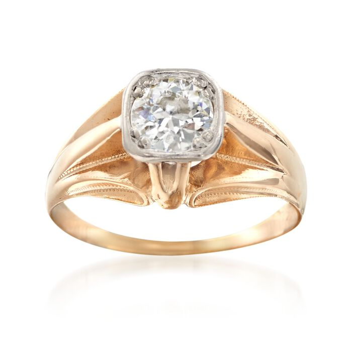 C. 1960 Vintage .60 Carat Diamond Ring in 14kt Yellow Gold
