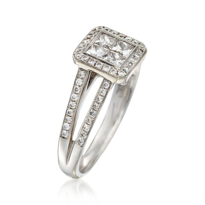 C. 2000 Vintage 1.10 ct. t.w. Princess-Cut and Round Diamond Engagement Ring in 14kt White Gold