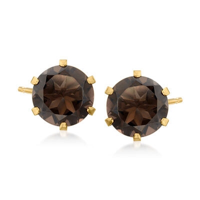 C. 1980 Vintage 5.70 ct. t.w. Smoky Quartz Earrings in 14kt Yellow Gold