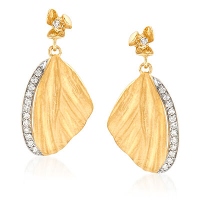 Simon G. .21 ct. t.w. Diamond Butterfly Wing Drop Earrings in 18kt Yellow Gold, , default