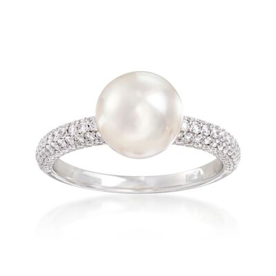 Mikimoto 8.5mm A+ Akoya Pearl and .54 ct. t.w. Diamond Ring in 18kt White Gold, , default