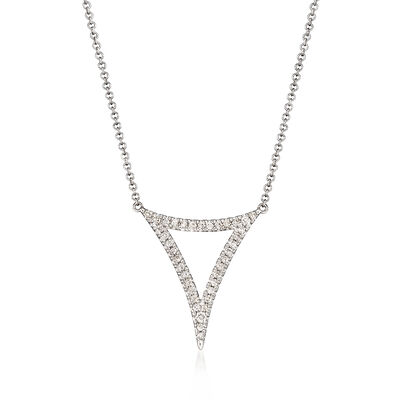 Gabriel Designs .25 ct. t.w. Diamond Open Triangle Necklace in 14kt White Gold, , default