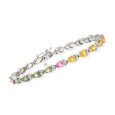 C. 1990 Vintage 7.00 ct. t.w. Multicolored Sapphire and .85 ct. t.w. Diamond Bracelet in 14kt White Gold