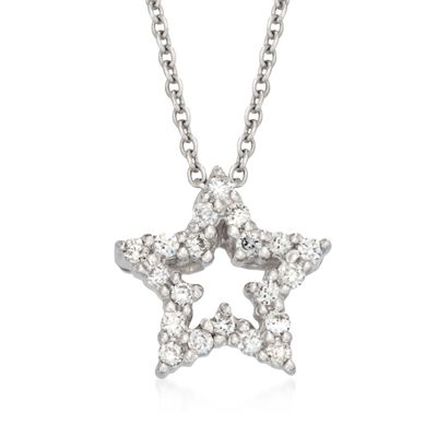 "Roberto Coin .10 ct. t.w. Tiny Treasure ""Star"" Diamond Necklace in 18kt White Gold"