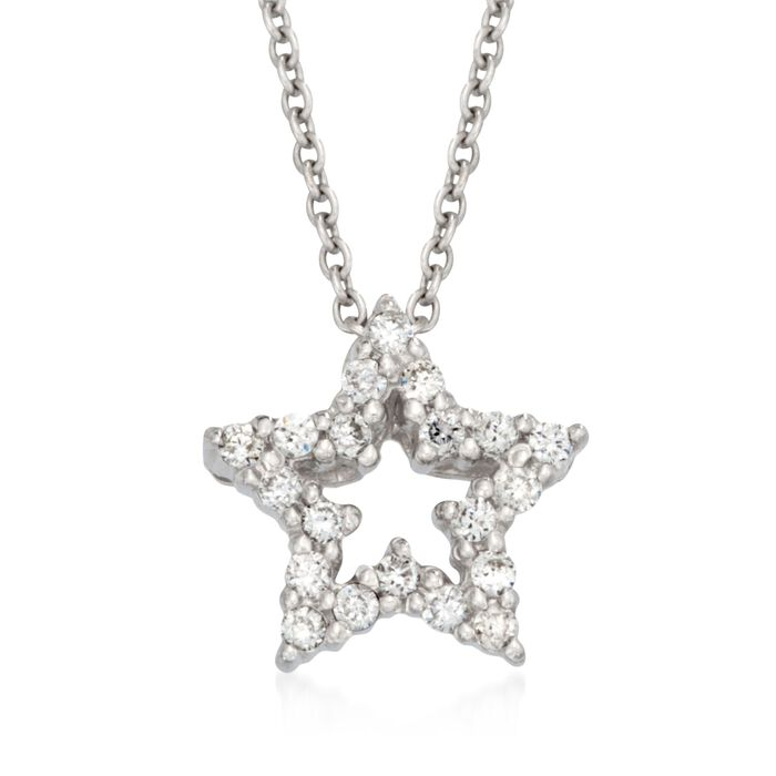 """Roberto Coin Tiny Treasures .10 Carat Total Weight Diamond Star Necklace in 18-Karat White Gold. 18"""", , default"""