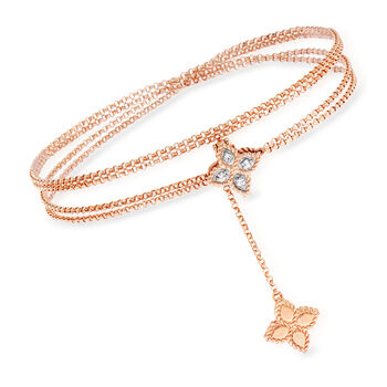 "Roberto Coin ""Venetian Princess"" .20 ct. t.w. Diamond Double Chain Flower Pendant Necklace in 18kt Rose Gold, , default"