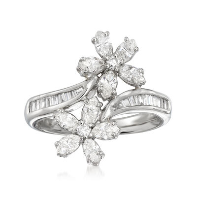 C. 1990 Vintage 1.36 ct. t.w. Diamond Flower Bypass Ring in Platinum