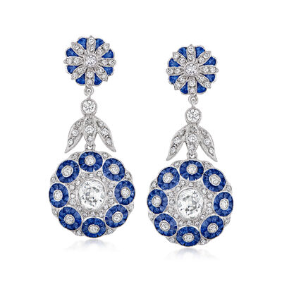 C. 2000 Vintage 4.50 ct. t.w. Sapphire and 2.80 ct. t.w. Diamond Flower Drop Earrings in 18kt White Gold