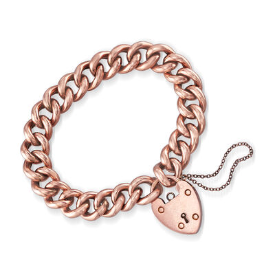 C. 1904 Vintage Heart Padlock Curb-Link Bracelet in 9kt Rose Gold with British Hallmark, , default
