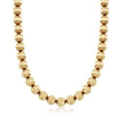 C. 1970 Vintage 14kt Yellow Gold Fluted Bead Necklace, , default