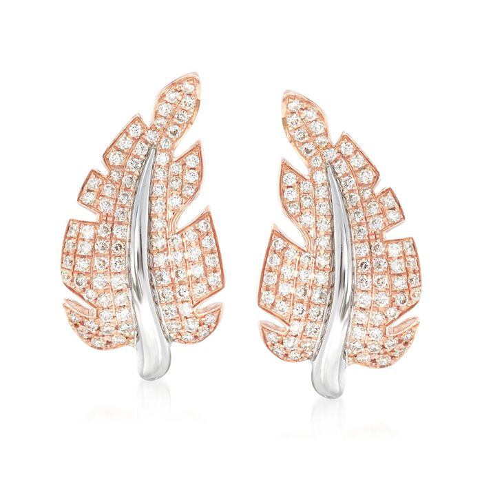 Simon G. Garden .66 Carat Total Weight Diamond Abstract Leaf Earrings in 18-Karat Two-Tone Gold, , default