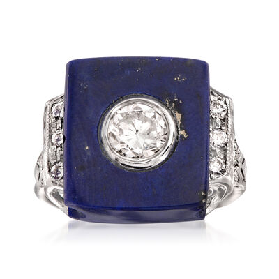 C. 2000 Vintage Lapis and 1.00 ct. t.w. Diamond Ring in 14kt White Gold, , default