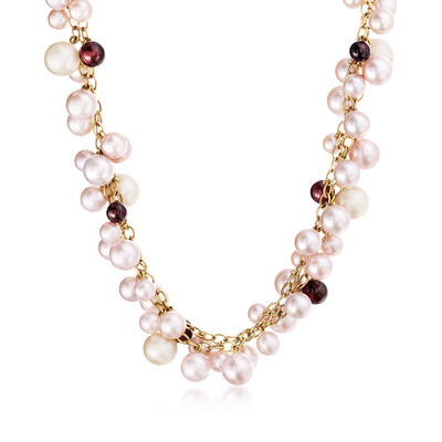 C. 1980 Vintage Mimi Milano 5.5-8.5mm Multicolored Cultured Pearl and 5.3-6.5mm Garnet Bead Necklace in 18kt Yellow Gold