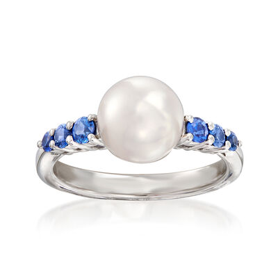 "Mikimoto ""Ocean"" 8mm A+ Akoya Pearl and .40 ct. t.w. Sapphire Ring in 18kt White Gold"