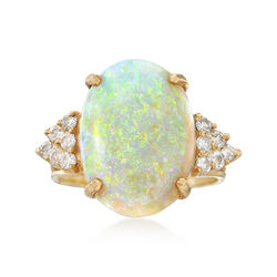 C. 1980 Vintage Opal and .40 ct. t.w. Diamond Ring in 14kt Yellow Gold, , default