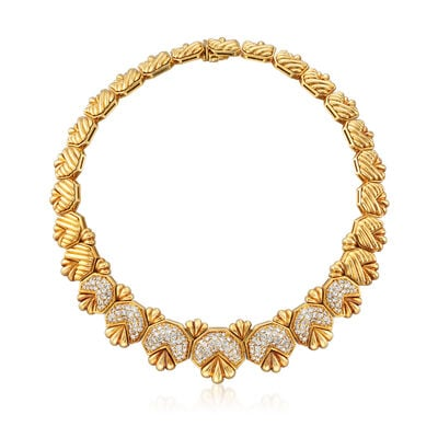 C. 1980 Vintage 9.00 ct. t.w. Diamond Geometric Necklace in 18kt Yellow Gold, , default