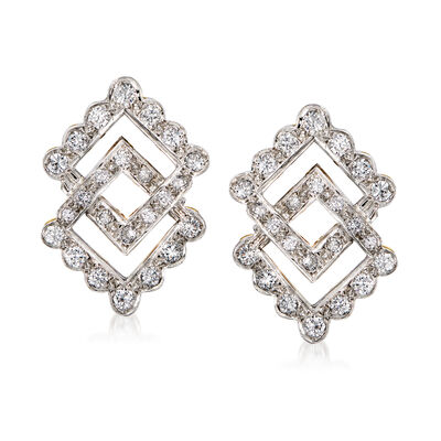 C. 1980 Vintage 2.60 ct. t.w. Diamond Double-Square Earrings in 14kt Two-Tone Gold