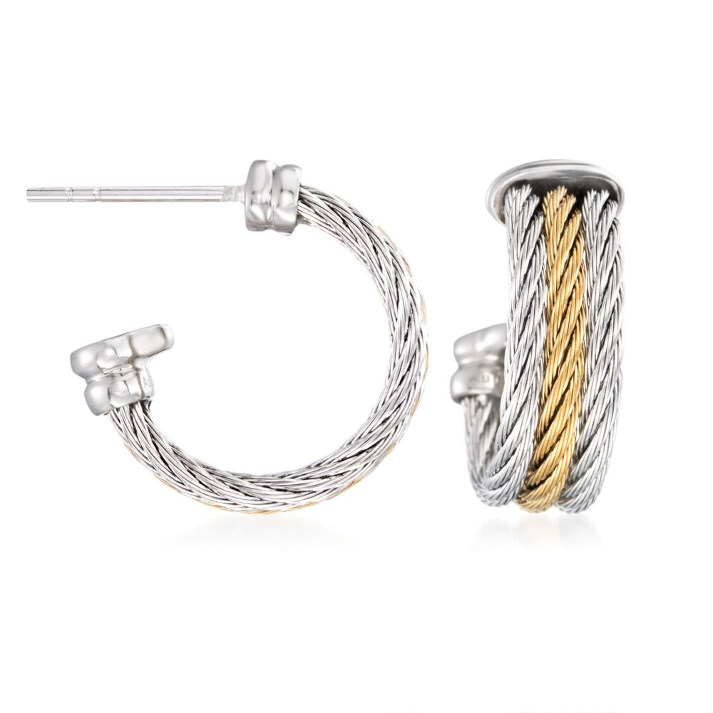 e754a42ead0c4 ALOR Classique Gray and Yellow Stainless Steel Cable Hoops with 18-Karat  White Gold