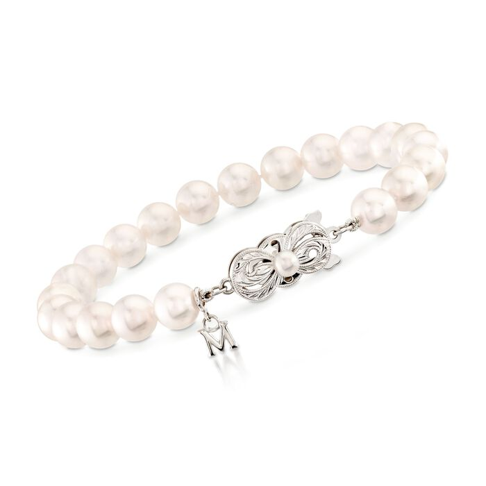 "Mikimoto 7-7.5mm 'A' Akoya Pearl Bracelet with 18-Karat White Gold. 7"", , default"