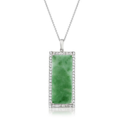 C. 1980 Vintage Jade Rectangular Pendant Necklace with 1.40 ct. t.w. Diamonds in Platinum and 18kt White Gold