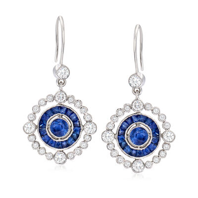 C. 2000 Vintage 2.00 ct. t.w. Sapphire and .90 ct. t.w. Diamond Drop Earrings in 18kt White Gold