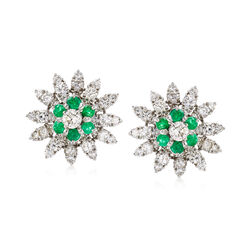 C. 1970 Vintage 5.50 ct. t.w. Diamond and 1.50 ct. t.w. Emerald Floral Earrings in 14kt White Gold, , default