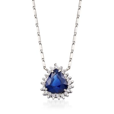 C. 2000 Vintage Alessi 2.30 ct. t.w. Sapphire and .25 ct. t.w. Diamond Necklace in 18kt White Gold, , default