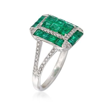 Gregg Ruth 1.80 Carat Total Weight Emerald and .34 Carat Total Weight Diamond Rectangle Ring in 18-Karat White Gold. Size 6.5, , default