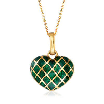 C. 1980 Vintage Green Enamel Heart Pendant Necklace in 18kt Yellow Gold, , default