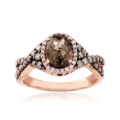 C. 2000 Vintage 1.40 Carat Smoky Quartz and .65 ct. t.w. Diamond Ring in 14kt Rose Gold, , default