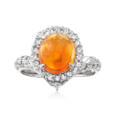 C. 1990 Vintage Fire Opal and .34 ct. t.w. Diamond Ring in Platinum