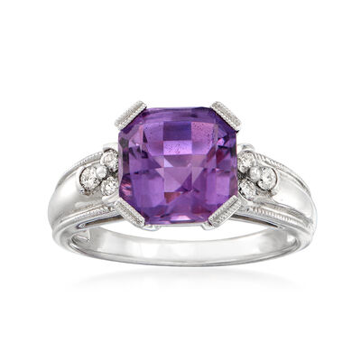 C. 1990 Vintage 3.50 Carat Amethyst and .15 ct. t.w. Diamond Ring in 10kt White Gold