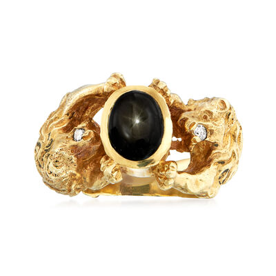 C. 1970 Vintage Black Star Sapphire Lion Ring with Diamond Accents in 14kt Yellow Gold, , default