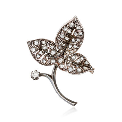C. 1900 Vintage 1.65 ct. t.w. Diamond Leaf Pin in Sterling Silver and 18kt Yellow Gold