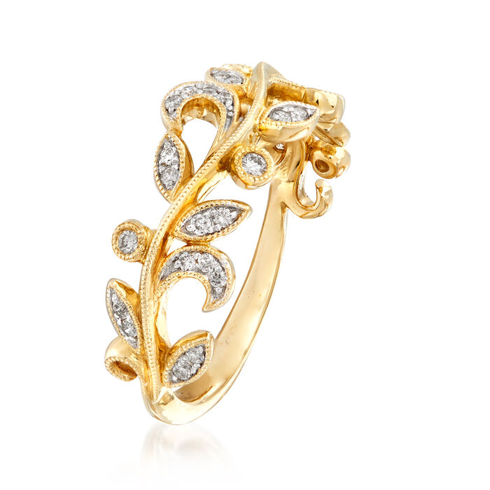 Gabriel Designs .28 ct. t.w. Diamond Leaf Ring in 14kt Yellow Gold
