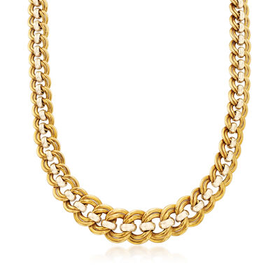C. 1980 Vintage 18kt Two-Tone Gold Double-Chain Link Necklace, , default