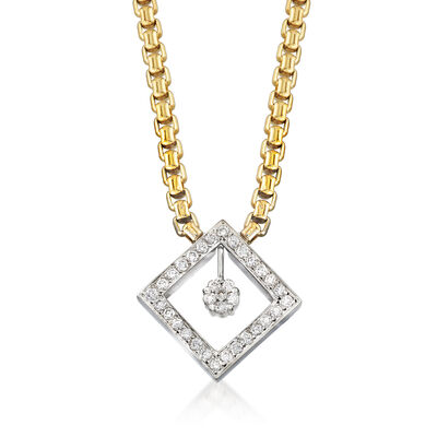 C. 2000 Vintage .90 ct. t.w. Diamond Necklace in 14kt Two-Tone Gold
