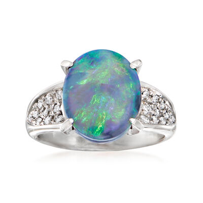 C. 1990 Vintage Black Opal and .19 ct. t.w. Diamond Ring in Platinum
