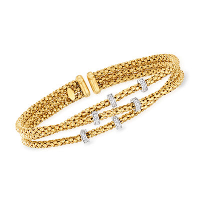 "Phillip Gavriel ""Popcorn"" .30 ct. t.w. Diamond Three-Strand Cuff Bracelet in 14kt Yellow Gold, , default"