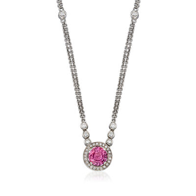 C. 1990 Vintage 1.53 Carat Pink Sapphire and .35 ct. t.w. Diamond Double-Row Necklace in 18kt White Gold, , default