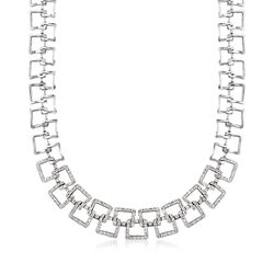 C. 1990 Vintage 2.20 ct. t.w. Diamond Open Square Link Necklace in 14kt White Gold, , default