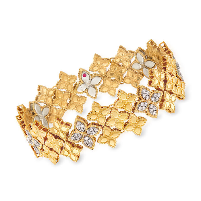 """Roberto Coin """"Princess"""" 1.25 ct. t.w. Diamond Floral Bracelet in 18kt Two-Tone Gold. 7.25"""", , default"""