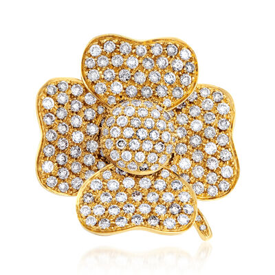 C. 1990 Vintage 2.30 ct. t.w. Diamond Flower Ring in 18kt Yellow Gold