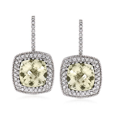 C. 1980 Vintage 7.40 ct. t.w. Aquamarine and .85 ct. t.w. Diamond Drop Earrings in 14kt White Gold