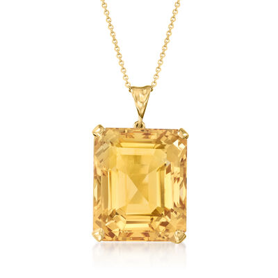 C. 1960 Vintage 50.00 Carat Citrine Pendant Necklace in 14kt Yellow Gold