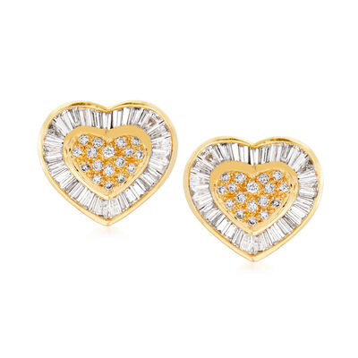C. 1980 Vintage 2.00 ct. t.w. Diamond Heart Earrings in 18kt Yellow Gold