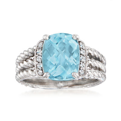 C. 2000 Vintage David Yurman 3.00 Carat Aquamarine Ring with Diamond Accents in Sterling Silver